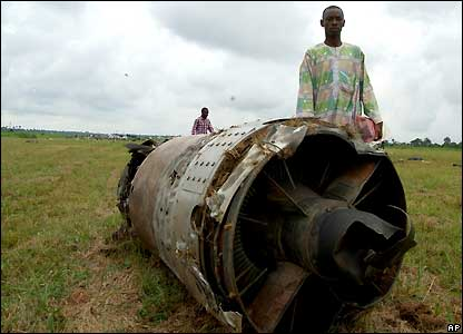 Engine of the DC-9, owned by the private Sosoliso Airlines which crashed in Port Harcourt on 10 December 2005