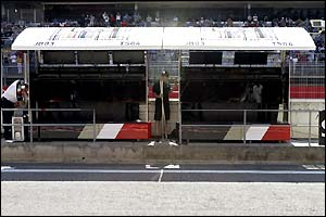 The BAR pit area in Barcelona stands empty