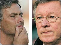 Chelsea manager Jose Mourinho and Manchester United counterpart Sir Alex Ferguson
