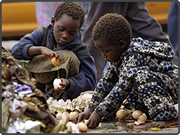 Two unidentified children pick up rotten eggs from a heap of uncollected rotting garbage in Mbare, a township southwest of Harare (AP)