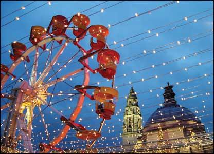 The big wheel, shot through fairy lights, at the 'Winter Wonderland' outside City Hall, Cardiff, by Steve McAllister from Pontprennau