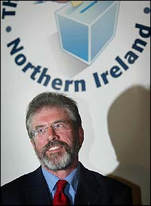 Gerry Adams pictured after retaining his West Belfast seat