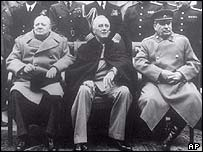 Winston Churchill, Franklin D Roosevelt and Stalin at the Yalta conference in 1945