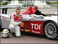 Audi driver Tom Kristensen with the new R10 in Paris