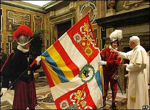 Pope Benedict is shown new papal flag