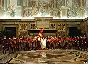 Pope Benedict XVI and new Swiss Guards