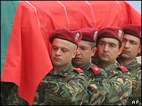 Bulgarian troops carrying a coffin