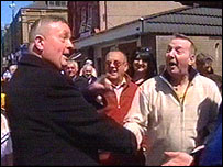 Peter Law (left) greets supporters in Blaenau Gwent after his victory