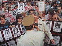 Anti-Pinochet march in Santiago in 2000
