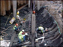Experts working on the ship