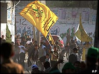Fatah flag flown as supporters confront Hamas supporters in Rafah