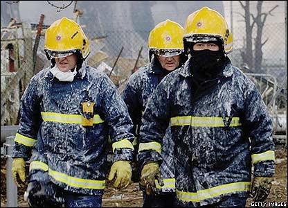 Firefighters take a break