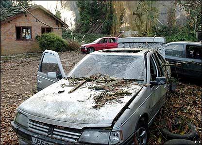 A badly damaged car