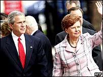 President Bush and Latvian President Vaira Vike-Freiberga