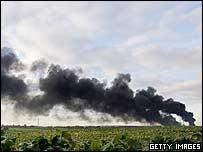The smoke plume over Buncefield