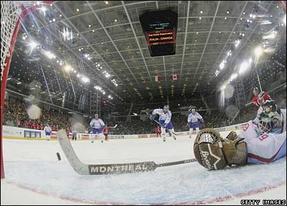 An ice hockey friendly between Italy and Canada in Turin.