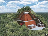 Artist rendition of pyramid complex at San Bartolo (Vlad Dumitrascu/�National Geographic)