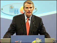 US Trade Representative Rob Portman speaks at the WTO's summit on 14 December 2005