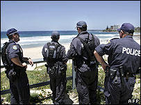 New South Wales anti-terror police keep watch over North Cronulla beach near Sydney, 14 December 2005.