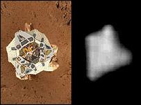 Ilustración del Spirit, NASA, y fotografía, de Malin Space Science Systems