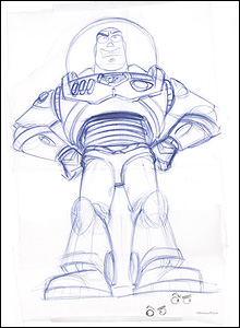 Buzz, Toy Story.  Pencil © Disney/Pixar