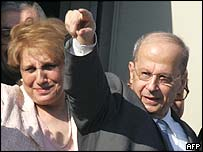Michel Aoun (right) with his wife Nadia at Beirut airport