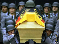 Coffin of the German soldier who was killed in a suicide bombing on Nato forces in Afghanistan