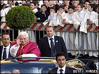 Pope Benedict gestures to the crowd at the Basilica of St Mary Major in Rome