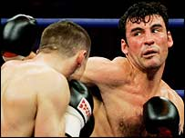 Joe Calzaghe (right) throws a right at Mario Veit on Saturday night