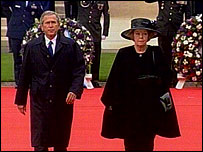 President George W Bush and Dutch Queen Beatrix at the Margraten cemetery in the Netherlands