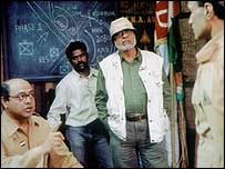 Shyam Benegal (in hat) directs the film on Bose