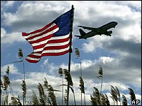 Aircraft with US flag in foreground