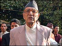 President of the Nepali Congress party and former prime minister Girija Prasad Koirala