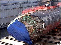 Damage to the submarine