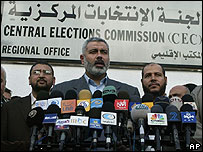 Ismail Haniya at the Palestinian election office