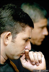 Brazilians Rayfran das Neves Sales (L) and Cloadoaldo Carlos Batista at the murder trial