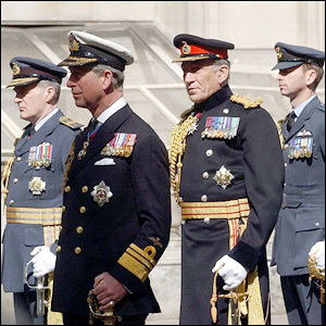 The Prince of Wales (second left) and Sir Mike Jackson (third left) at the Cenotaph