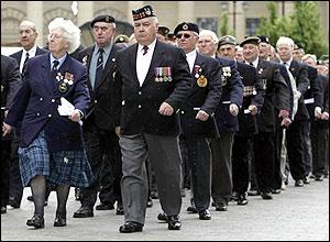 War veterans marching through Dundee