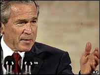 President Bush speaking at the Woodrow Wilson Center in Washington
