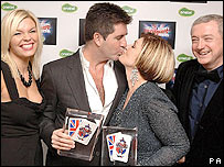 The X Factor's Kate Thornton, Simon Cowell, Sharon Osbourne and Louis Walsh