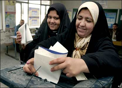 Two women cast their vote in Baquba