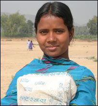 Guriya on her way to school in Bihar