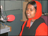 Guriya Khatoon at the BBC office in London