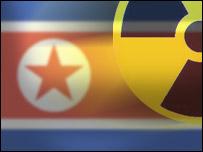 North Korean flag and nuclear symbol