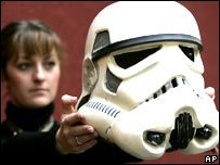 Katherine Williams from Christies with Stormtrooper helmet