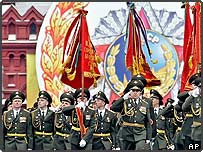 Russian soldiers march on the Red Square in Moscow