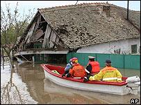Rescuers in Otelec, western Romania