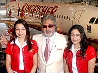 Kingfisher flight attendants with Vijay Mallya