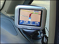 Sat-nav unit in car