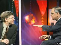 Infosys chairman, NR Narayana Murthy with Microsoft's Bill Gates